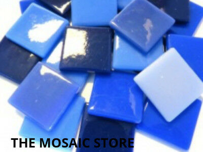 Mixed Blue Gloss Glass Tiles 2.5cm - Mosaic Tiles Supplies Art Craft