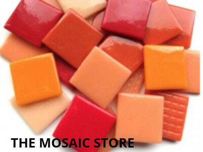 Red Mix Gloss Glass Tiles 2.5cm - Mosaic Tiles Supplies Art Craft