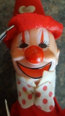 "1960's Japanese CLOWN Rubber Head CLOWN Doll.9"" Valentines Day, Vintage Clown $5"