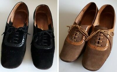 2 Pair of Vintage PASSPORTS Brown and Black Suede Shoes  - Women's Size 8