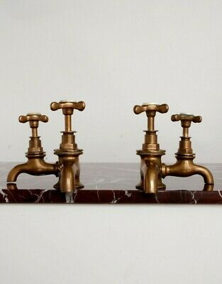 Rare Antique Double Taps Brass Fully Refurbished Period Kitchen or Bathroom