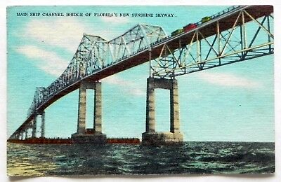 Sunshine Skyway Bridge, St. Petersburg, Fla 1959, Before rebuild Postcard A368