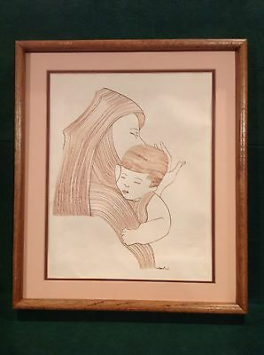 Milton Davis Ink Drawing On Paper About Mother Holding A Child, Rare And Signed