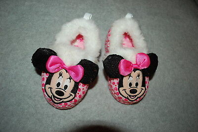 Baby Toddler Girls MINNIE MOUSE CLOTH SLIPPERS Sequin Ears PINK BOW Size S 5-6
