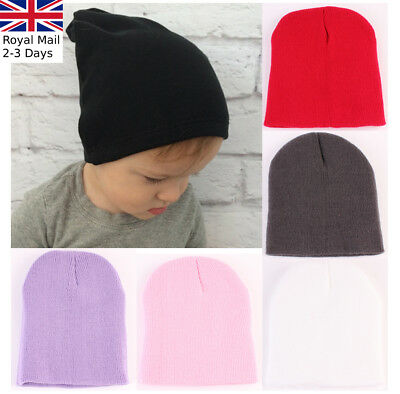 Baby Toddlers Winter Warm Knit Beanie Hat Boys Girls Plain Bobble Crochet Cap
