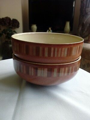 Pair Of Denby Fire Chilli Soup Bowls 6""
