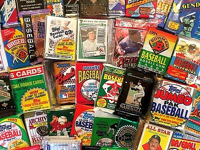 $1 OLD BASEBALL CARDS in Vintage Unopened Wax Packs + Star Card Bonuses! DEAL!