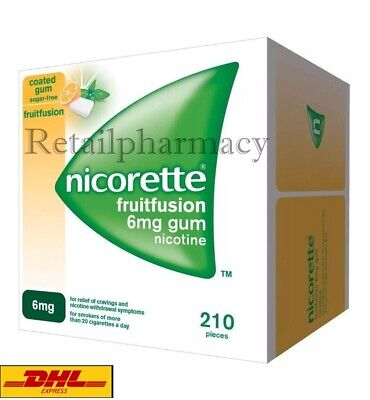Nicorette Fruitfusion Gum 6 mg Pack of 210 pieces MULTIPLE PACKS Exp-March 2021