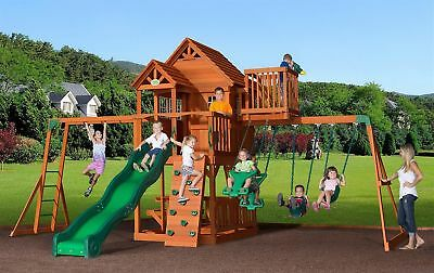 Play Ground Huge 9 Kid Outdoor Playground Cedar Wood Fort Slide