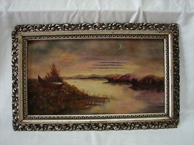 19th century ANTIQUE LANDSCAPE WITH MOON RIVER AND BOAT OIL PAINTING DATED 1892