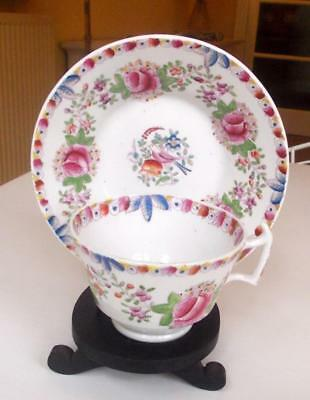 Antique Early 19Th Century Porcelain Cup And Saucer Decorated With Roses