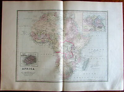 Africa continent Congo State 1886 Bradley large old hand colored folio map