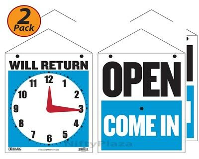 Pack of 2 - BAZIC 7.5x9 WILL RETURN Clock Sign w OPEN Sign on Back - 4398
