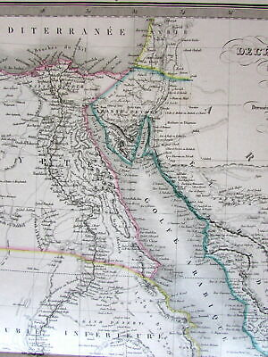 North Africa Egypt w/ huge Mts of Moon 1854 Lapie large old engraved color map
