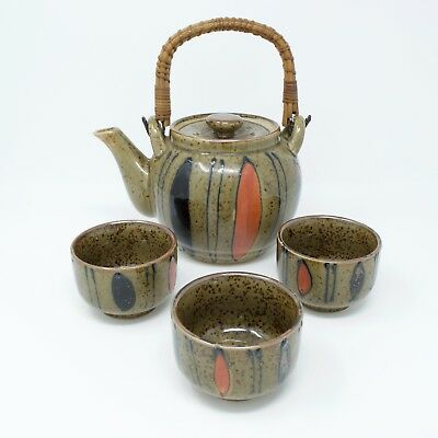 Teapot and Cup Set Japan Hand Painted Bamboo Handle Green Orange Brown MCM