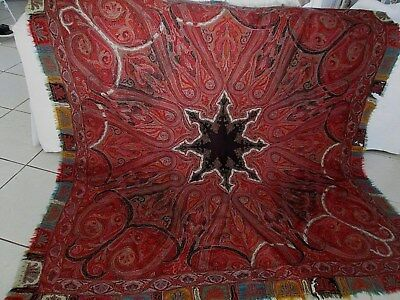 """Antique 19th c. Paisley Wool Tapestry Textile Coverlet/Heavy Shawl 72"""" x 72"""