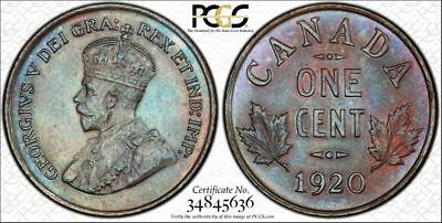 1920 MS64 BN Canada 1 Small Cent PCGS KM# 28 Toned!