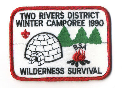 Two Rivers District Winter Camporee 1990 Wilderness Survival Boy Scout Patch BSA