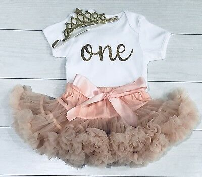 Luxury Girls 1st First Birthday Blush Tutu Skirt Vest Top Outfit Cake Smash Set
