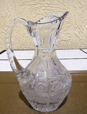 Cut Glass Water Juice Milk Wine Beverage Pitcher Jug * Multi-Patterned * 22 ozs