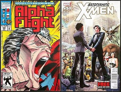 Alpha Flight #106 & Astonishing X-Men #51 Northstar comes out Gay & gets Married