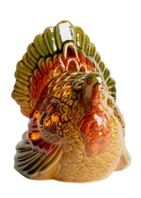 """New Lighted Ceramic Turkey Thanksgiving Fall Decor Collectible Figure 7"""" High"""
