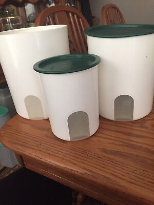 Vintage Tupperware ONE TOUCH Nesting Canisters Set of 3 White with green Lids
