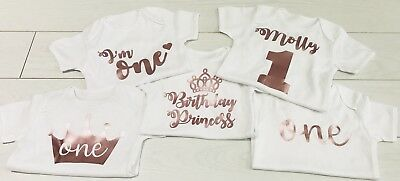 Baby Girls First 1st Birthday Outfit Rose Gold Vest T-Shirt Top Cake Smash Set