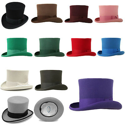 67c67377905bd2 Ferrecci Classic 100% Wool Top Hat with Full Satin Lining - Multiple Colors