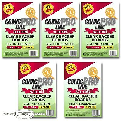 "25 - Comic Pro Line SILVER / REGULAR 80pt CLEAR PET Backer Boards 7"" x 10-1/2"""