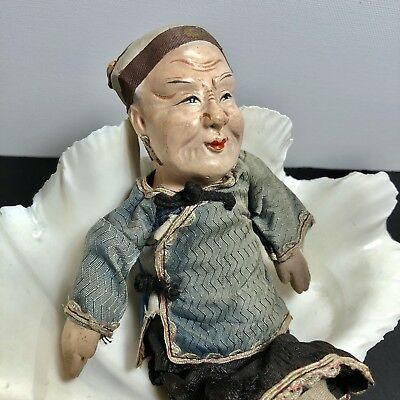 """Vintage Chinese Composition Doll Old Man in Silk Clothes 8"""" Antique Character"""