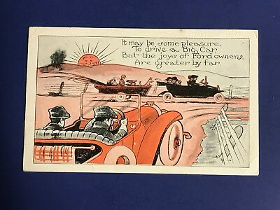 1920's FORD MODEL T BOOSTER COMIC ORIGINAL POSTCARD # 2174