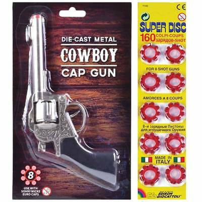 Metal Cowboy Gun with Shot Caps Toy Fake Boys Kids Wild West Fun Pistol Revolver