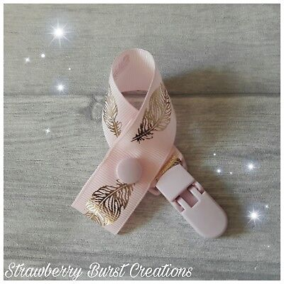 Dummy Clip Handmade Gold Foiled Feathers Baby Gift *MAM adapters available*