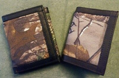 Men's CAMO Realtree RFID Blocking GENUINE LEATHER Black Brown Trifold ID Wallet