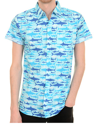 Mens Run & Fly 50's/60's Retro/vintage/hawaiian Shark Print Blue Shirt