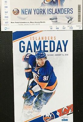 new concept 2526e fd73a NY ISLANDERS VS New Jersey Devils 1/16/18 Gameday Program ...