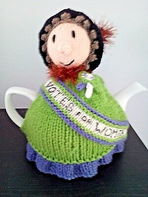 Hand Knitted Tea Cosy  - Suffragette - Votes for Women - fits 6 cup teapot