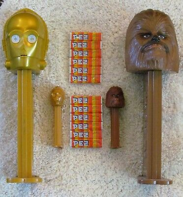 Giant PEZ Lot Star Wars Chewbacca C-3PO Candy Dispenser w/ Bonus Regular Sized