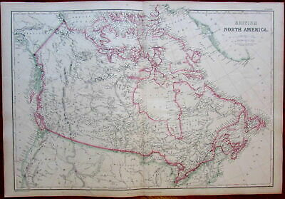 Canada British North America c.1850's Lowry large old engraved map hand color