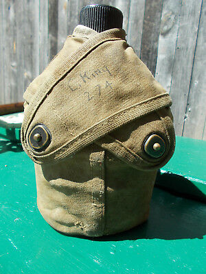 WW2 USMC US Marine Corps Bunny Ears ,Cross Flap Canteen Cover w/ Canteen and Cup