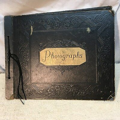 Vintage 1940s-50s Scrap Book with Pictures Cars Baseball Family 20 Pages