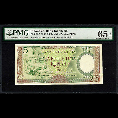 Bank Indonesia 25 Rupiah 1958 PMG 65 GEM Uncirculated UNC EPQ P-57