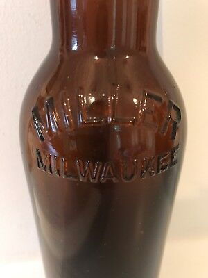 Amber Crown Top, Miller Milwaukee, W F & S MIL on Bottom