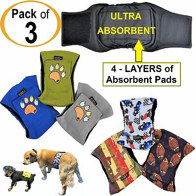 PACK-3pcs ULTRA ABSORBENT Dog Diapers Male Belly Band Wrap LEAK PROOF Washable