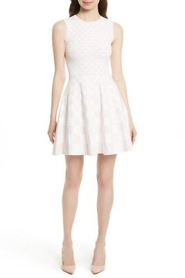 c69065becb0590 NEW Ted Baker Lowrel Jacquard Skater Dress in White Pink - Size 3 US 8