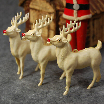"Retro Reindeer Japanese Christmas Tree ornaments 3.75"" White Celluloid Plastic"