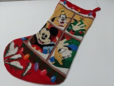 Vintage Disney Mickey Mouse Goofy Donal Duck Christmas Stocking Rare Collectable
