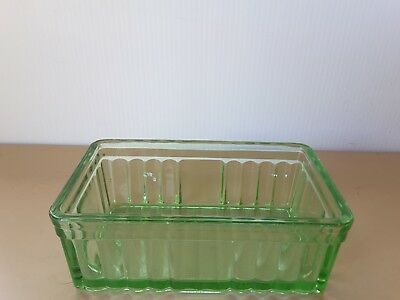 Vintage depression green glass butter/cheese container