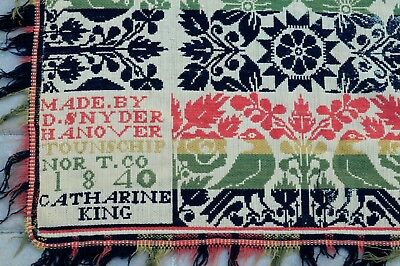 Antique 1840 Jacquard pattern coverlet by Daniel Snyder for Catherine King
